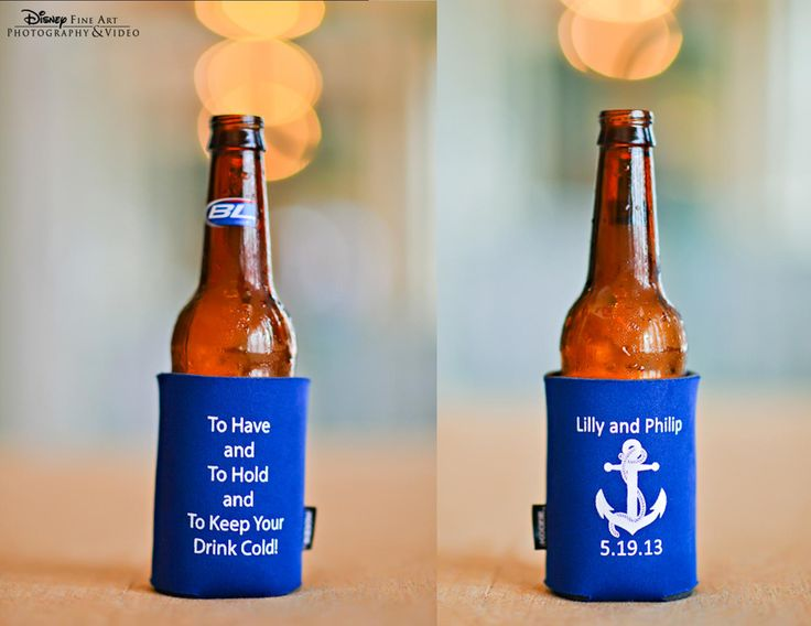 Personalized Nautical Themed Koozie For Each Guest Personalized Wedding Favor