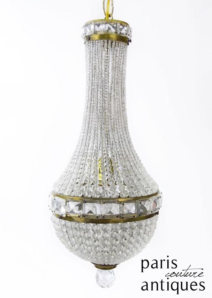 Antique Czech Rare Art Deco Beaded Dome Crystal Chandelier