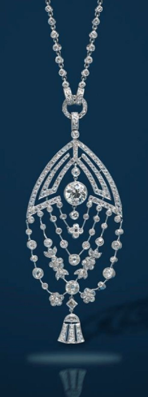 An Art Deco diamond pendant with diamond necklace #diamondnecklaces #diamondpendantnecklace