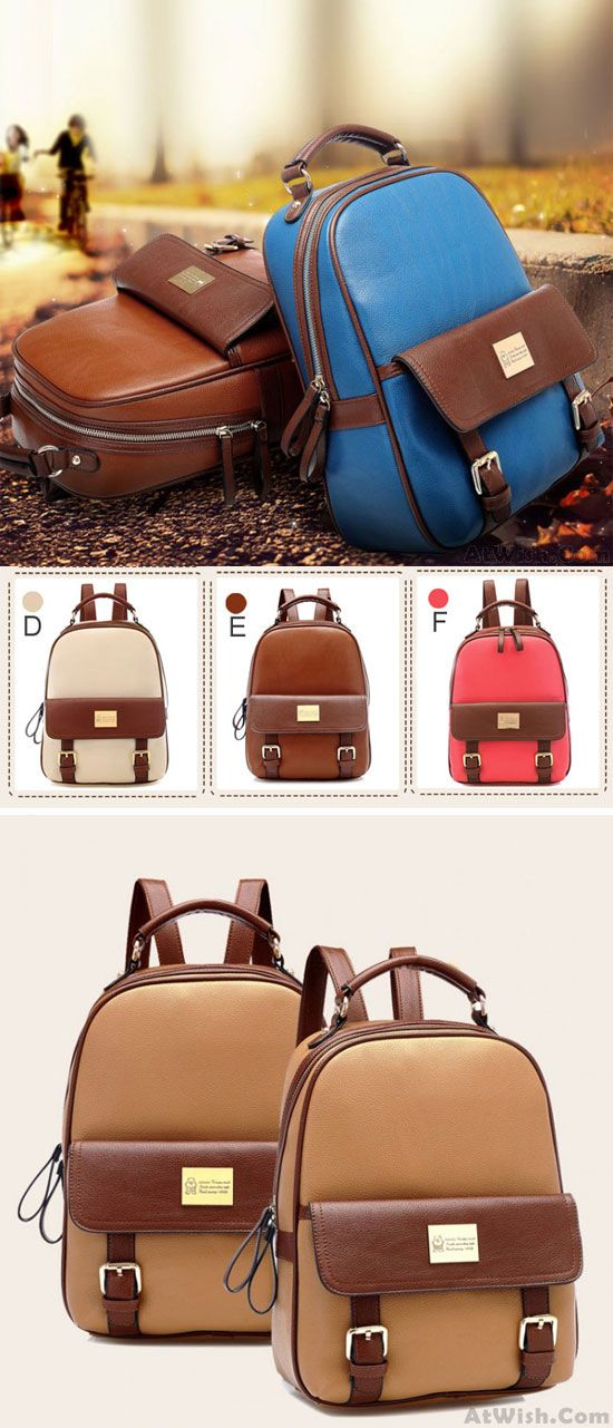 Which color do you like? Retro Elegant College Backpack #retro #school #college #student #backpack #Bag #rucksack #travel #camping #girl #fashion #cute
