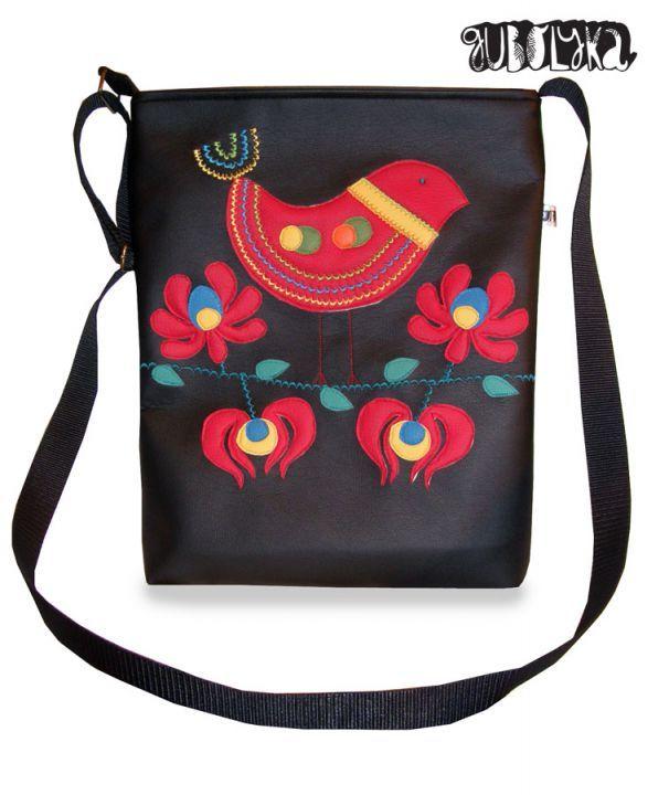 Szines, madaras matyó motívumokkal díszített táska by http://www.breslo.hu/gubolyka/shop
