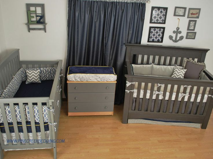 World map fabric with navy and grey custom crib bedding in for Grey nursery fabric