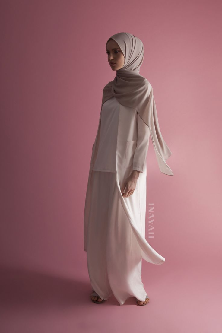INAYAH | Be cool and fashionable this summer with our top modest picks: Nude #Maxi #Coat with Pockets White Front Pleat #Palazzos White Crepe #Top Light Mushroom Soft Crepe #Hijab www.inayah.co