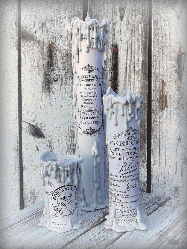 Queste candele raccapriccianti sono in realtà rotoli di carta assorbente stampati e la grafica!   33 Impossibly Cute DIYs You Can Make With Things From Your Recycling Bin
