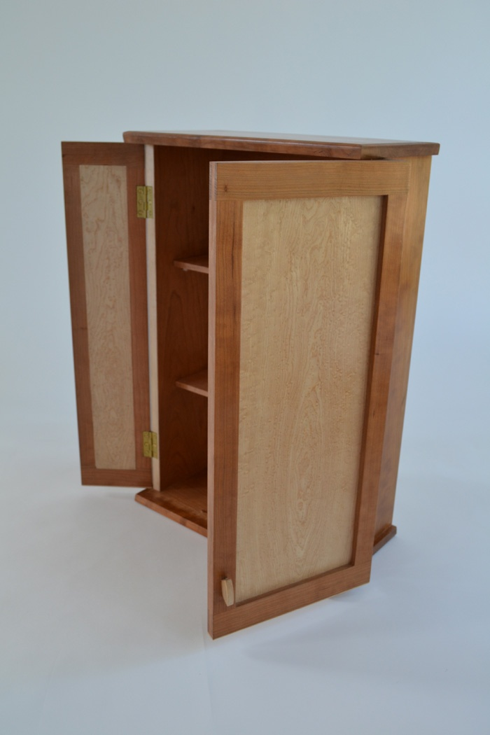 Sam James Designed Fine Furniture Maker and Designer.American Cherry and Birds Eye Maple. Wall Cabinet. 500mm h x 320mm w x 170mm d