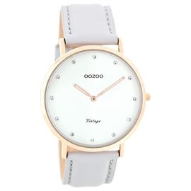 40mm Rose Gold/Crystal Watch - Stone Grey