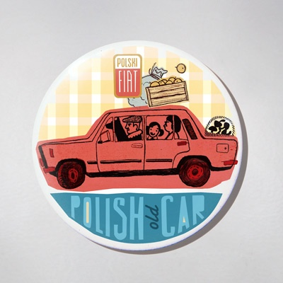 Fridge Magnet - Old Polish Car - Duzy Fiat.  The colourful souvenir from Poland for your fridge or magnetic board.  $10 zł.