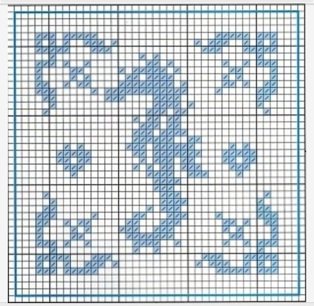 Free Cross-stitch Seahorse Biscornu pattern... no color chart, just use pattern chart colors as your guide.. or choose your own colors.