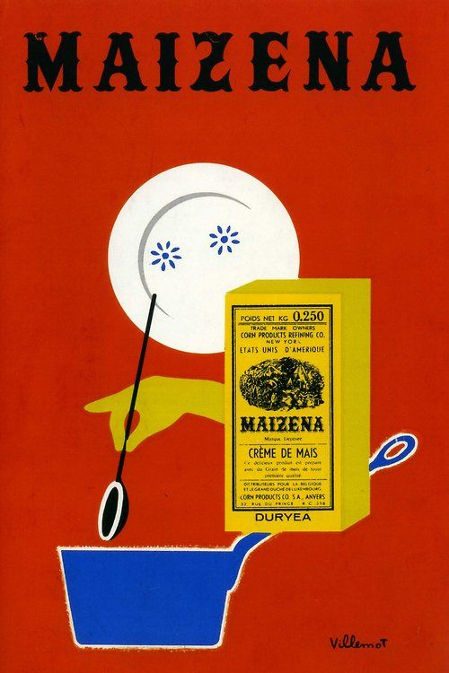 Maizena creamed corn vintage illustrated ad Bernard Villemot (1911/1989)