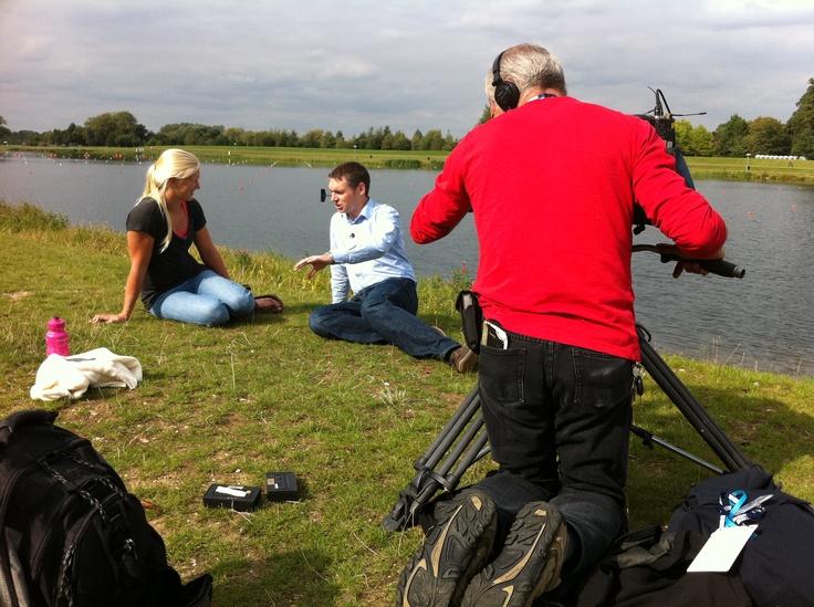 BBC South's Tony Husband talks to Olympic hopeful Rachel Cawthorn at the Canoe Sprint venue - Dorney Lake.