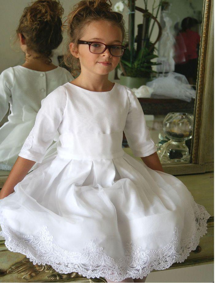 Embellished Half Sleeve Girls Communion Dress