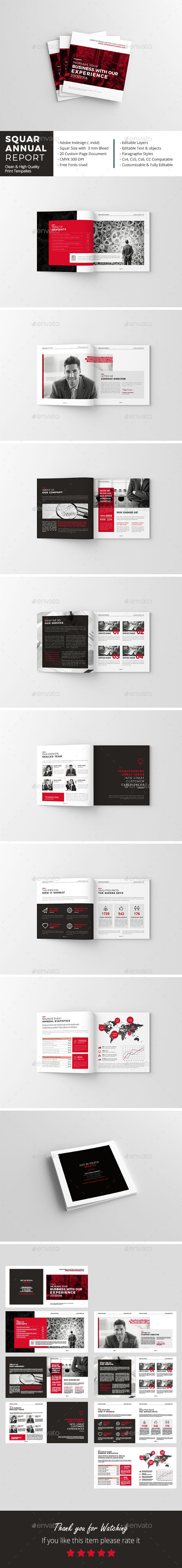 Squar Annual Report Brochure Template InDesign INDD - 16 Pages