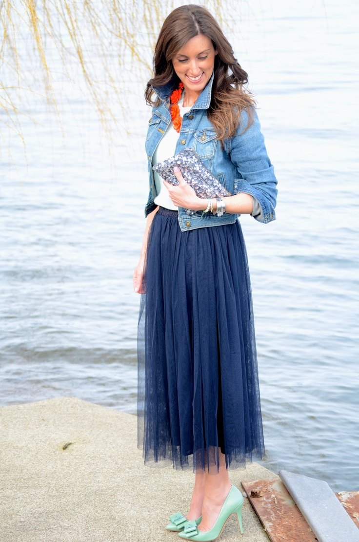 Basically looks like this dress denim jacket converse example - Jean Jacket Flowy Navy Skirt Mint Pumps And A Coral Necklace