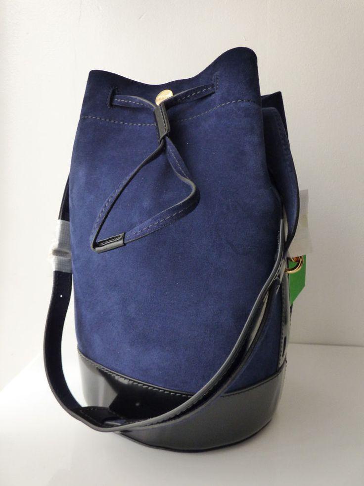 Sac seau BIKE grand modèle en cuir velour bleu marine et cuir verni noir KENZO #Sacmain