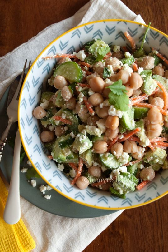 Chickpea salad with cucumber, avocado and feta | in my Red Kitchen
