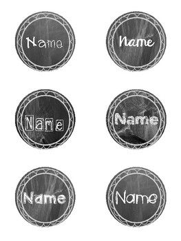 Editable Chalkboard Student Name Tags Circle