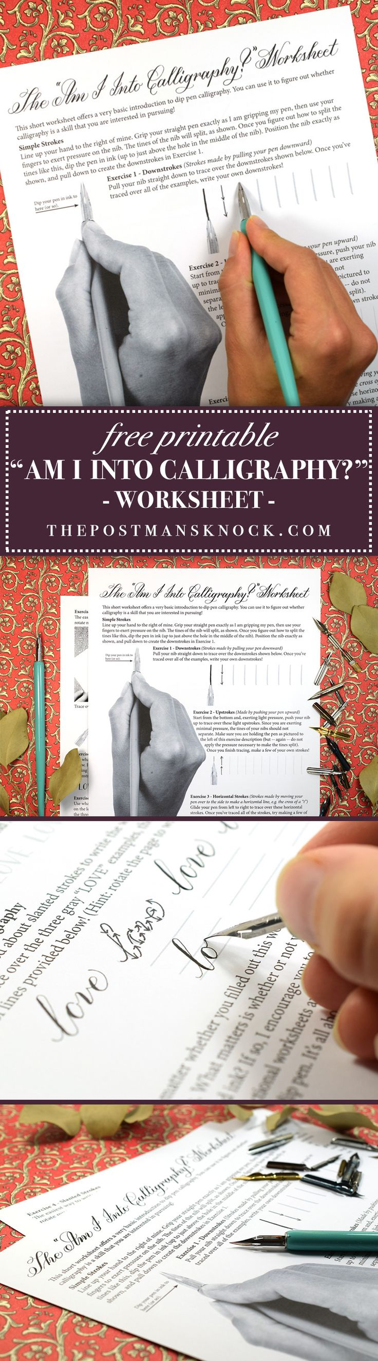 "Free ""Am I Into Calligraphy?"" Printable Worksheet"