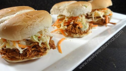 BBQ Beer Chicken Sliders with Pineapple Slaw - Newlywed Survival #recipe