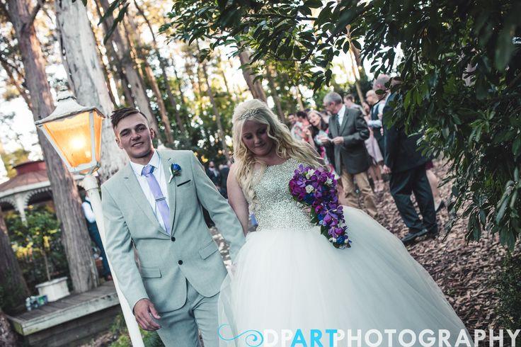 Bride and Groom  Cascading Tear Drop Bouquet  Allegro Weddings