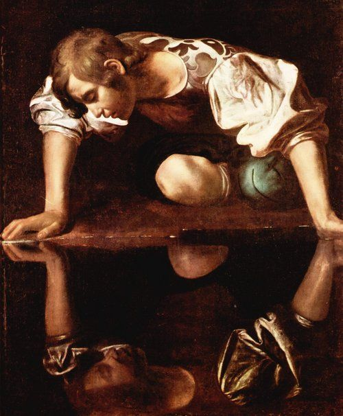 Narcissus by Michelangelo Merisi da Caravaggio. This is another painting of Narcissus, and I think it is a very powerful one. The painting is very dramatic, and portrays Narcissus in a darker light. There are no etherial elements in this painting that would lighten the image up. It is very dark, and portrays his narcissism as more of a bad thing.