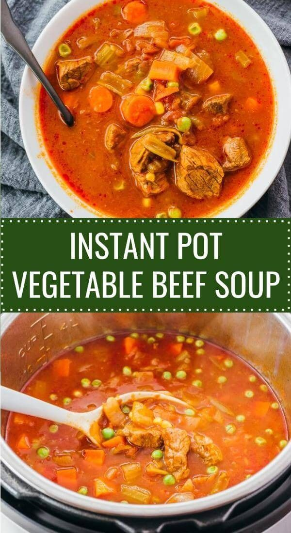 Homemade vegetable beef soup in instant pot