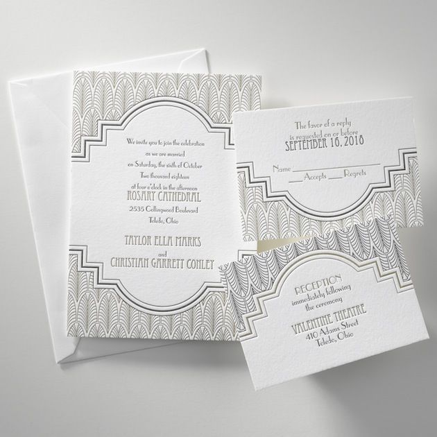 gorgeous art deco letterpress wedding invitations from @Invitations by Dawn