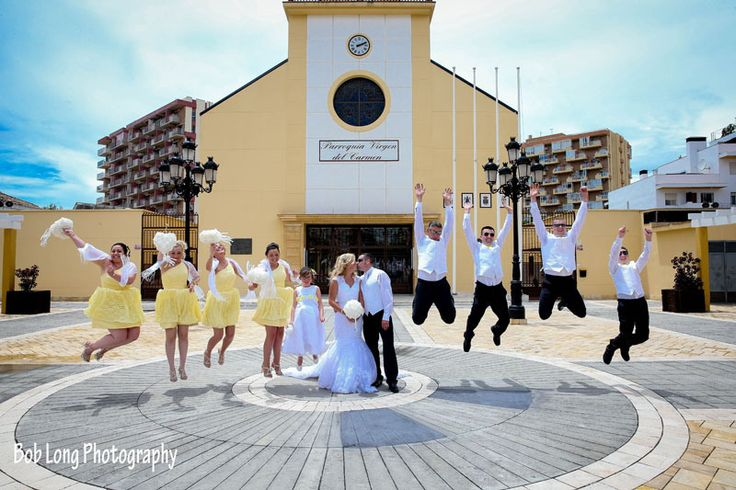 Bridal party in yellow