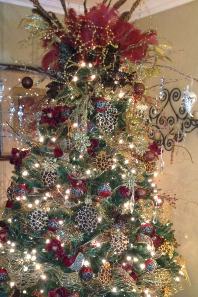 Feather and leopard Christmas Tree