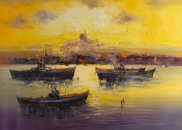 Üç kayık ve istanbul manzara tablo - ist 7754