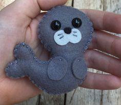 Wool felt seal / sea lion christmas ornament / key chain / mobile attachment