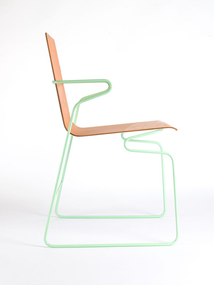 frederik kurzweg design studio, bender chair, steel wire base leather seat, prototype