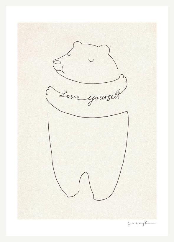 Love Yourself by ilovedoodle #Illustration #Bear_Hug