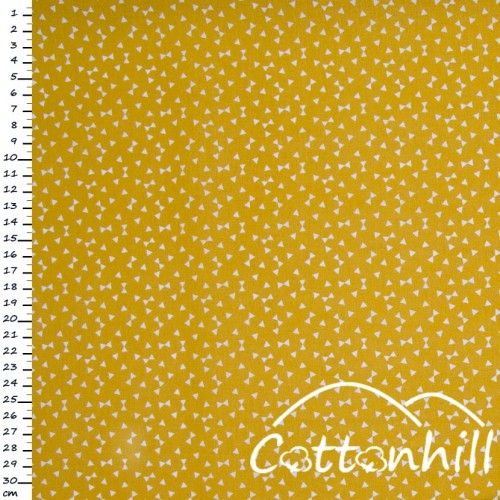 Tkanina bawełniana jw drobne trójkąty na żółtym/musztardowym tle.