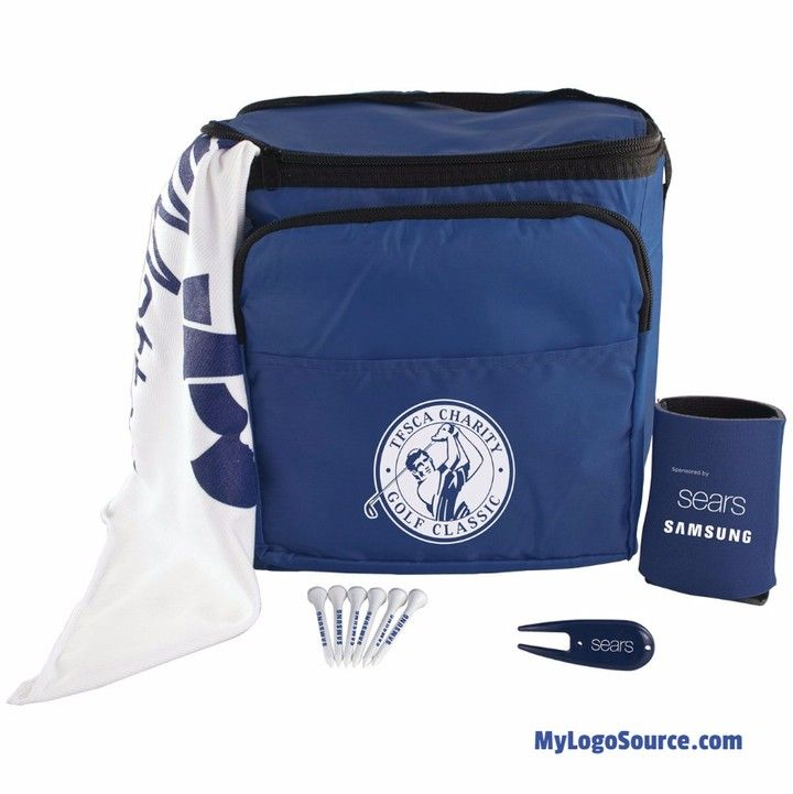 """Your brand is on course and on all the items in the 12 Pack Golf Kit. Includes your logo on: 12 Pack Cooler Bag. 15"""" x 18"""" Golf Poly Blend towel with grommet & hook. Six 2-3/4"""" tees. Divot repair tool. Collapsible can holder. Price includes your logo printed in one ink color on towel tees repair tool foam can holder and cooler bag.  http://ift.tt/2eaONMA  #golf #tournament #round #fore #divot #clubs #golfball #sports #outdoors #nature #photooftheday #golfer #golfcourse #birdie #par #prize…"""