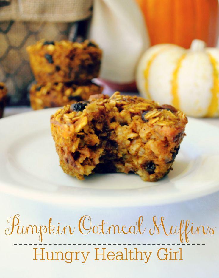 Baked Pumpkin Oatmeal Muffins- The perfect grab-n-go breakfast or healthy snack! {kid friendly and gluten-free} #pumpkin #glutenfree