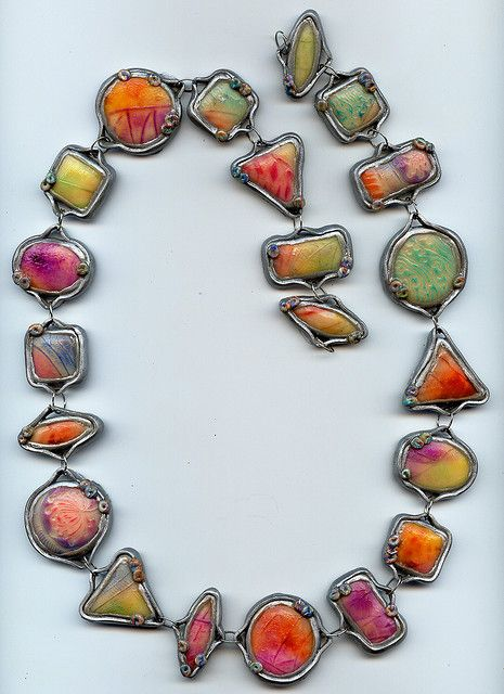 Silver #Necklace by MargitB / #Polymer #clay beads / #polymerclay #geometric shapes