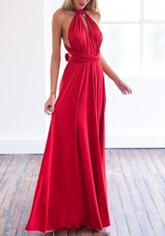 Red Plain Belt Bandage Pleated Backless Tie Back Fashion Sexy Prom Maxi Dress