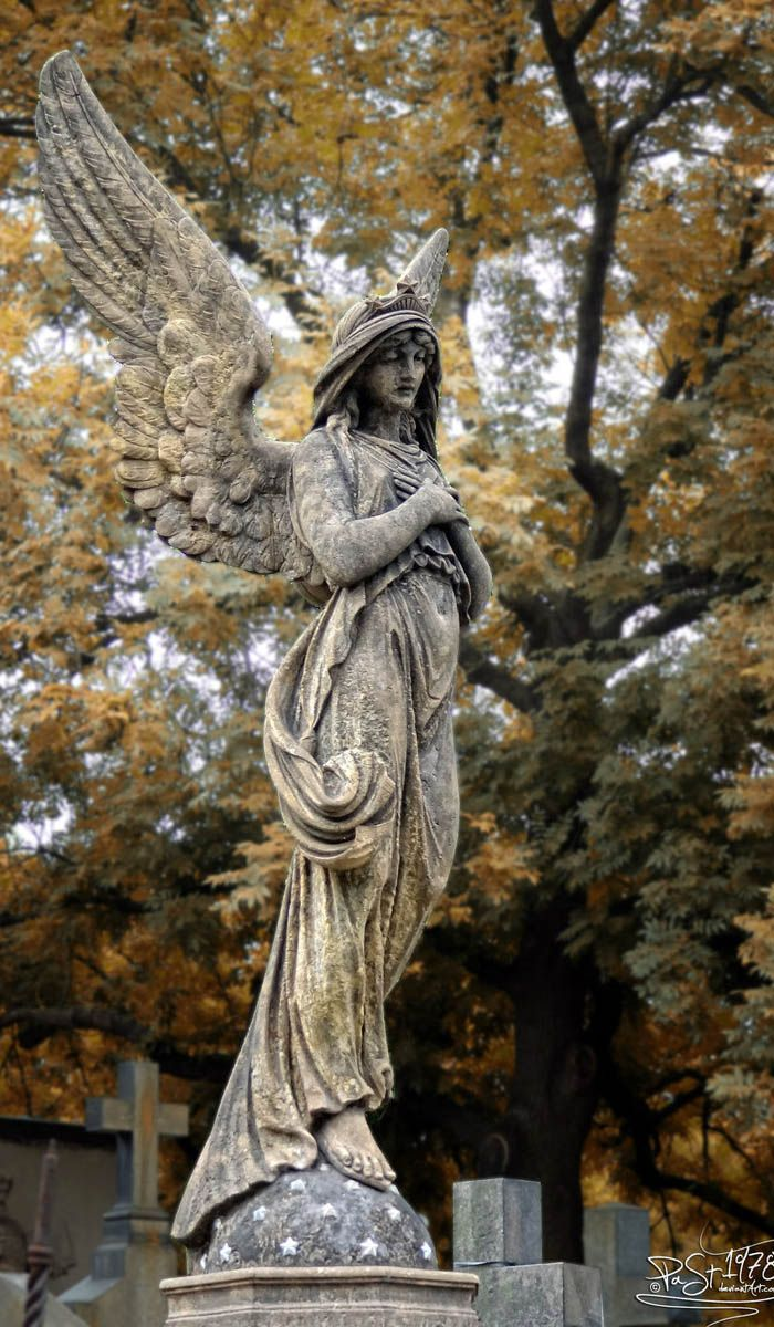 Angel by past1978 - One of the many tombstones in the Slavin cemetery of Prague.