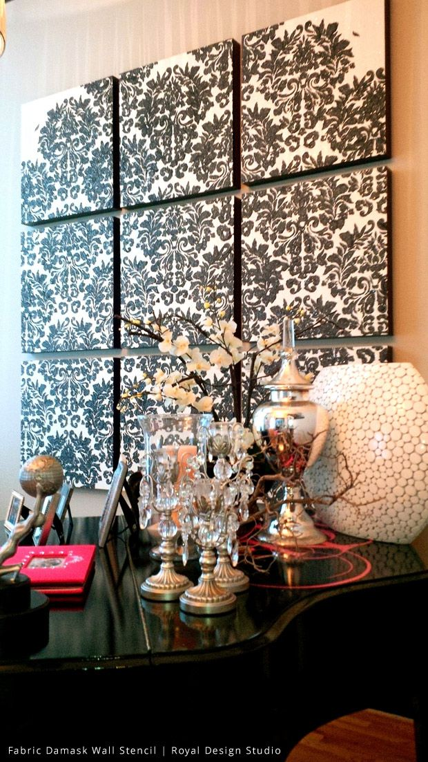 Check Out This Beautiful Damask Stencil Wall Art Project Created By Talented Design Duo Using Glass Shards Metallic Plaster On Nine Canvases Made As One