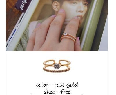 Jewelry Ring Two Lines Brass and Cubics Rose Gold Color 1pc