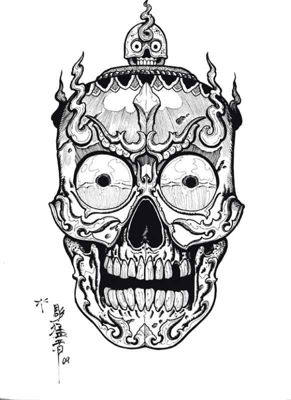 Tibetan Skulls Tattoo Designs By Horimouja Outline
