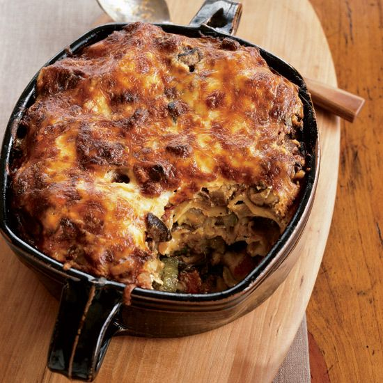 Two-Cheese Moussaka with Sautéed Mushrooms and Zucchini | Dave Matthews loves making this casserole, layered with roasted zucchini, mushrooms, tomato sauce, feta and provolone. It's his version of the Croatian moussaka in Moosewood Cookbook.