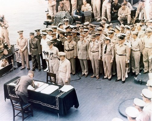 The Japanese surrender ceremony aboard the USS Missouri on September 2, 1945 in Tokyo Bay.