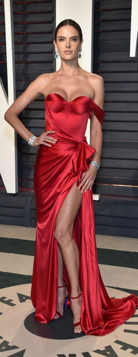 Who made Alessandra Ambrosio's red satin gown and ankle strap sandals?