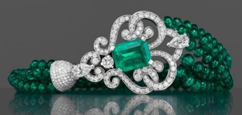 Garrard | The Court Jeweller Part of the company's high jewelry line, this Emerald and Diamond Bracelet pairs diamonds with emeralds sourced from Colombia and Zambia #braceletdiamonds