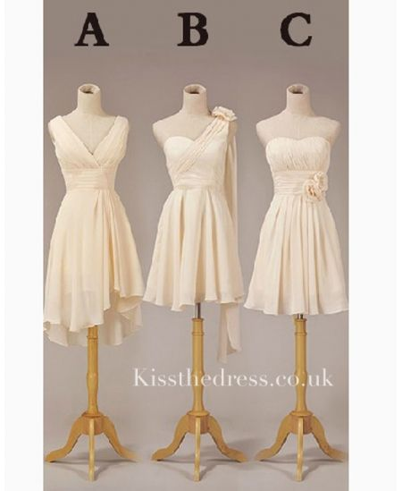 Apricot Chiffon Different Style Short Bridesmaid Dress