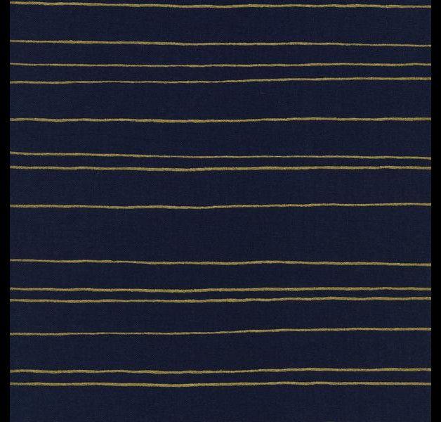 Stoff grafische Muster - Goldene Streifen d.blau - ein Designerstück von Mai-Lu…