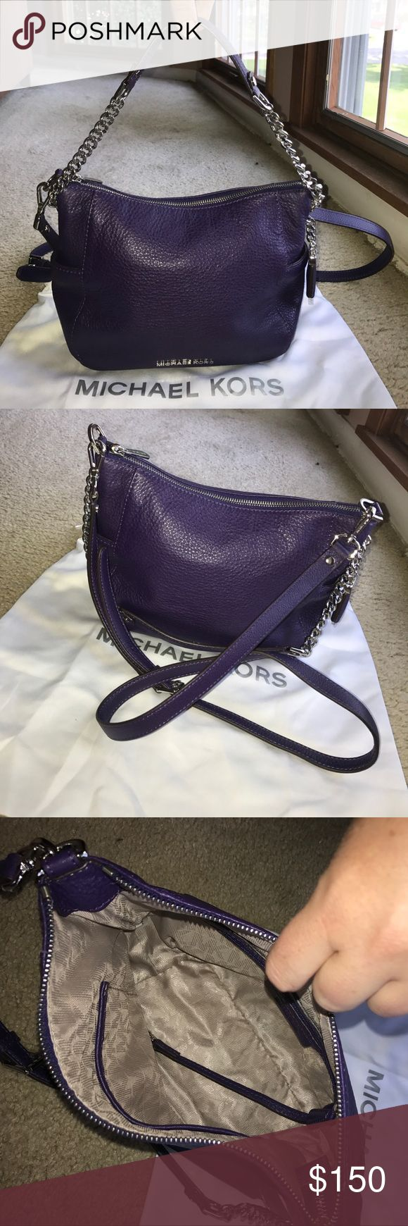 Michael Kors cross-body, soft leather handbag Michael Kors deep purple, soft leather, cross body handbag, with silver accents.  I purchased this bag a few years back and only used it once or twice. Beautiful bag, pretty much brand new!  Purchased at Macy's. Michael Kors Bags Crossbody Bags