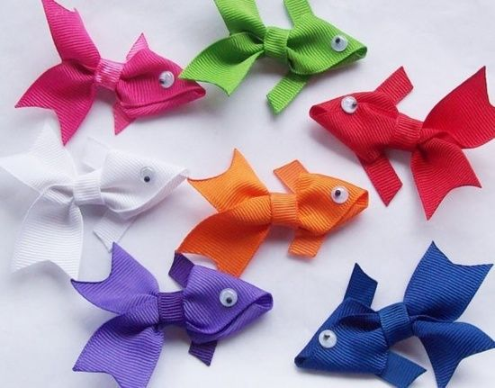 Ribbon Fish Bows: Hairbows, Ribbons Fish, Fish Ribbons, Crafts Ideas, Ribbons Barrettes, Fish Bows, Hair Bows, Hair Clip, Hairclip