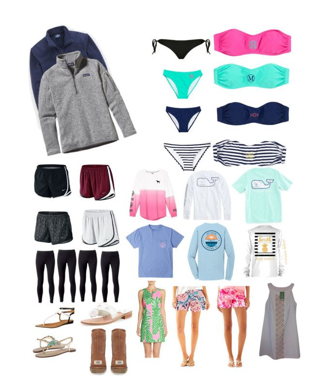 """""""ULTIMATE PREPPY BEACH PACKING LIST"""" by kking03-1 on Polyvore featuring Vineyard Vines, Patagonia, Skinbiquini, Vince Camuto, NIKE, Victoria's Secret, Jockey, Calvin Klein, Lilly Pulitzer and Jack Rogers"""